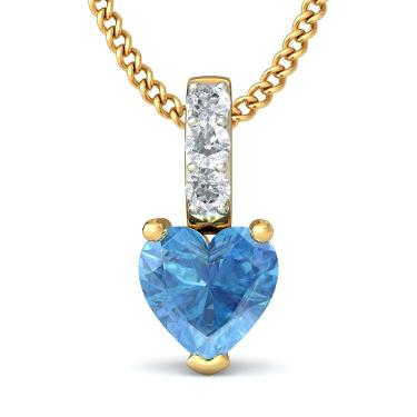 Blue topaz and diamond heart pendant in 18kt yellow gold