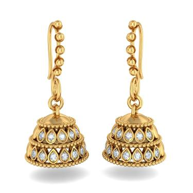 How To Buy Gold Jhumka Earring Designs MyJewelryDeals Sterling
